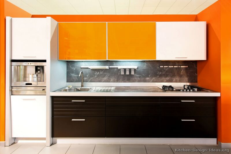 Kitchen Cabinets Modern Two Tone 088 S12541714 Orange White Brown Black Modelona Kitchen Set Murah Terbaik
